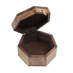 Christmas Gifts Wooden Jewelry Keepsake Box Storage Organizer Hand Carved Walnut Wash available at joyfulcrown.com