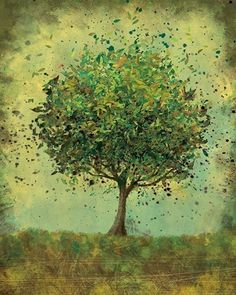 I love this tree! Green Tree Art - Welcome Change (rustic green) - 8x10 Print (by papermoth) via Etsy