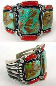 Cuff | Kirk Smith (Navajo).  Coral and turquoise, sterling silver