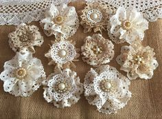 10 shabby chic vintage lace handmade flowers approximately - ***Shabby chic lace flowers are perfect for… Fleurs Style Shabby Chic, Flores Shabby Chic, Bodas Shabby Chic, Shabby Chic Headbands, Shabby Chic Crafts, Vintage Shabby Chic, Vintage Lace, Vintage Flowers, Wedding Vintage