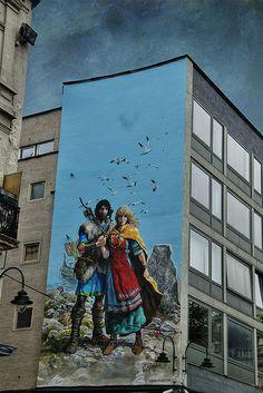 Thorgal & Aaricia, Place Anneessens by Wim de Koning Gans Street Art Love, Amazing Street Art, Amazing Art, Awesome, Grafitti Street, Murals Street Art, 3d Street Painting, Art Optical, Mural Wall Art