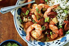Shrimp-and-Sausage Gumbo - Slow-Cooker Suppers - Southernliving. Recipe: Shrimp-and-Sausage Gumbo Whether you want a taste of the beach or bayou, gumbo is the perfect dish for you. This recipe is full of large, beautiful shrimp, and spicy andouille sausage. It'll take a few hours for for the base to come together, but it will seem like no time at all before you can toss the shrimp in. Thirty minutes after that you're ready to have a bowl of this tasty treaty. Then you'll enjoy a smoky…