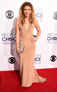 Kimberly Perry from 2015 People's Choice Awards Red Carpet Arrivals  Styling tousled beach waves, Kimberly opts for sleek nude gown.