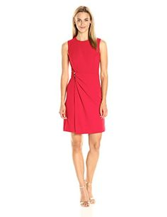 Women s Sleeveless Round Neck Sheath Dress with Draped Skrt Office Dresses 8cf1e4ecb168