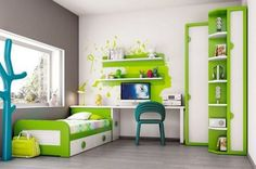Cameretta ducati ~ Ninfea cameretta in tinta verde natura composta dal letto