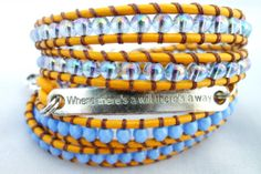 Blue and Yellow Leather Beaded Wrap Bracelet With by HempGalore, $45.00 Where there's a will there's a way