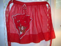 Vintage Half Apron Red Hostess Apron by CottageClever on Etsy, $21.95