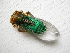 Vintage french celluloid brooch Cicada