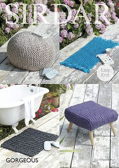 Ultra Chunky Easy Knit Pattern For Pouffe, Footstool Cover & Rugs Sirdar Gorgeous by FenlandGreen on Etsy Stool Covers, Yarn Ball, Chunky Yarn, Super Bulky Yarn, Baby Sweaters, Easy Projects, Pattern Paper, Knit Patterns, Knit Or Crochet