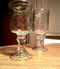 Combine old crystal candlesticks and Mason jars to create the most countrified wine glasses we've ever seen.  Get the tutorial on Modern Day Moms.    - HouseBeautiful.com