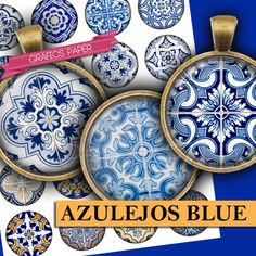 Printable Azulejos Blue Images Digital Collage by GraphicsPaper
