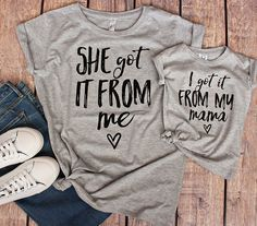 Adorbs! Me and my little will be rocking these!! Mom and Me Matching Outfits- She got it from me/ I got it from my mama #momandme #shegotitfromme #igotitfrommymama #matchingoutfit #ad