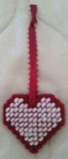 Dark Red/White Heart