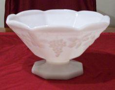 #Vintage Milk Glass Bowl, Imperial Glass, Grape & Ivy Pattern    http://outasitecollectibles.com/artglass