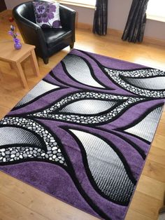 Details About New Small Extra Large Huge Purple Silver Black Thick Carved Rugs Rug Mat