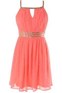 Coral Sequin Dress
