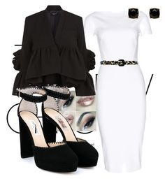 A fashion look from August 2013 featuring sleeved dresses, ankle strap pumps and stud earrings. Browse and shop related looks. Rachel Comey, Alice Olivia, Victoria Beckham, Jimmy Choo, Black And White, Polyvore, Stuff To Buy, Shopping, Collection