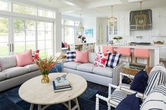 Pink, blue and gray living room