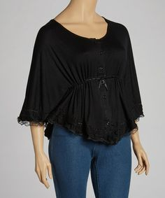 Take a look at this Black Lace-Trim Drawstring Top - Plus by Simply Irresistible on #zulily today!