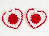 Set of 2 - Cute Crochet Valentine's Day Heart Appliques