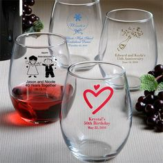 Custom Stemless Wine Glass (50 Designs) (FashionCraft 3421S) | Buy at Wedding Favors Unlimited (https://www.weddingfavorsunlimited.com/Custom_Stemless_Wine_Glass_50_Designs.html).