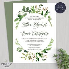 Greenery Wedding Invitation Botanical Wedding Invitations