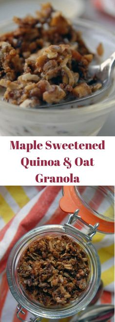 Vegan Maple Sweetened Quinoa and Oat Granola