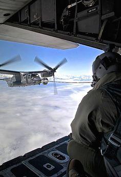 Air-to-air refueling V-22 Osprey