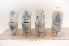 Ceramic Glasses for Water and Wine, Mugs for Coffee & Tea, Set of 6 Tumblers + 1 Bottle
