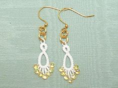 Wedding jewelry Tatted Lace Earrings in white -Flash Drips in white with gold or silver by SnappyTatter on Etsy