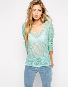 ASOS Top with V Neck and Curved Hem in Paisley Waffle Fabric