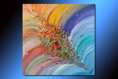 ARTFINDER: Original Contemporary Colorful Abstra... by Julia Apostolova - A highly textured modern abstract hand-painted painting by fine artist Julia Apostolova.  The sides are painted. READY TO HANG.  You can hang now on your wal...