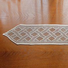 Long ecru handmade crochet tablecloth