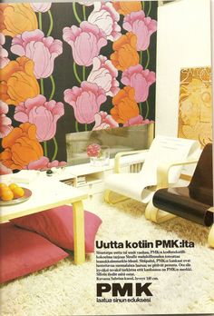 Gorgeous Tulip Fabric by Finnish PMK. Retro Pattern, Marimekko, Old Toys, Vintage Fabrics, Feng Shui, Floor Chair, Finland, Accent Chairs, Nostalgia