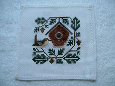 Completed Prairie Schooler Cross Stitch Bird - Wren. $9.95, via Etsy.