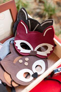 Woodland Birthday Party animal mask dress-up station