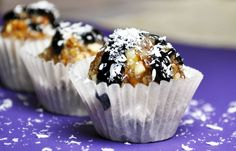 """""""Samoas"""" from CCK Blog. No baking (all raw ingredients). Healthy, quick, and delicious! We also made cashew cookie and a variation on the oatmeal cookie in under 5 minutes. Yum!"""