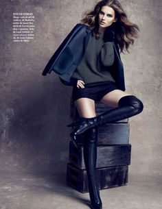 63185ad0608 Giedre Dukauskaite by Stockton Johnson for Vogue Mexico July 2014  Editorial  Enigma Boots by Louis Vuitton