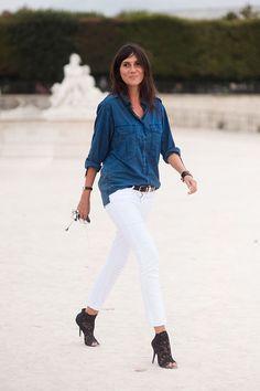 denim shirt white jeans