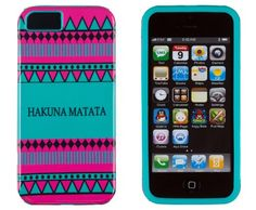 DandyCase 2in1 Hybrid High Impact Hard Hakuna Matata Aztec Tribal Pattern   Teal Silicone Case Cover For Apple iPhone 4S