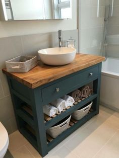 Solid Oak Vanity Unit-Washstand-Bathroom Furniture-Bespoke-Rustic in Home, Furniture & DIY, Bath, Sinks Farmhouse Bathroom Vanity, Bathrooms Remodel, Bathroom Makeover, Small Bathroom Furniture, Bathroom Design Small, Bathroom Remodel Designs, Rustic Bathroom Vanities, Small Farmhouse Bathroom, Small Remodel