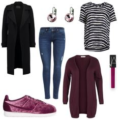 OneOutfitPerDay 2017-02-22 - #ootd #outfit #fashion #oneoutfitperday #fashionblogger #fashionbloggerde #frauenoutfit #herbstoutfit - Frauen Outfit Frühlings Outfit Outfit des Tages Schnäppchen Cardigan Jeans Lipgloss NARS Nike Ohrring Ohrringe ONLY Skinny Sneakers sweet deluxe T-Shirt Trenchcoat Vero Moda YAYA ZIZZI