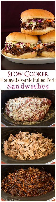 Slow Cooker Honey Balsamic Pulled Pork Sandwiches - these are AMAZING! Easy to make too!