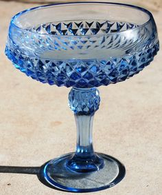 Vintage Blue Depression Glass Diamond Point Candy Dish. Picked this up in Jefferson, Texas store.