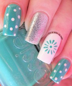 Beautiful Nail Designs for Long Nails. Compared with short nails, the long nail designs are perfect for special events. A perfect nail design can complete Fancy Nails, Love Nails, Pretty Nails, Dot Nail Art, Polka Dot Nails, Polka Dots, Aqua Nails, Pink Nail, White Nails