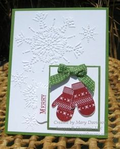 Thinking of buying the stamp set and for sure buying the punch. Already have the embossing folder. Card is from Mary Davidson's blog.