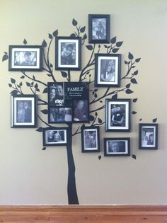 Family tree wall. All black and White photos. Tree decal from Kohls $12.99.