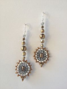 Earrings:  Bi-Metal Gold Silver Seed Bead Woven Circles at Bottom, Hand Made, One of a Kind, OOAK