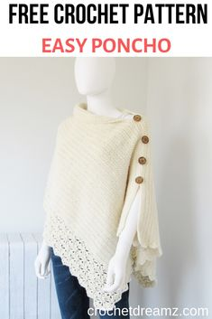 Free Crochet Poncho Pattern, Beginner Level - Crochet Dreamz - Knitting is so . Free Crochet Poncho Pattern, Beginner Level - Crochet Dreamz - knitting is as easy as 3 Knitting boils down to thr. Crochet Shawl Free, Crochet Motifs, Easy Crochet Patterns, Crochet Scarves, Crochet Clothes, Crochet Lace, Crochet Cardigan, Crochet Ideas, Poncho Sweater
