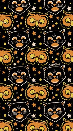 Retro Halloween Black Cat Owl Repeat Pattern By Casper Spell Retro Halloween Vintage Black Cat Orange Owl Repeat Seamless Pattern Art By Casper Spell Halloween Pattern Retro Spooky Cute Art Illustration October Iphone 8 Wallpaper Hd, Halloween Wallpaper Iphone, Fall Wallpaper, Halloween Backgrounds, Wallpaper Backgrounds, Phone Wallpapers, Trippy Wallpaper, Iphone Backgrounds, Cellphone Wallpaper
